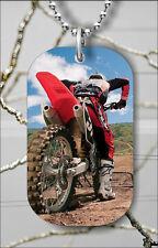 MOTORBIKE SPORT EXTREME MOTOCROSS DOG TAG NECKLACE PENDANT FREE CHAIN -kof5Z
