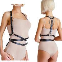 ceinture en cuir noir taille ceinture bretelles poitrine soutien-gorge