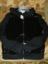 Black Sequins Hooded Jacket NWT Size Small Petite