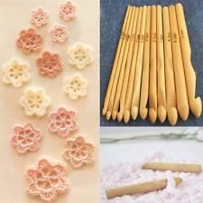 12 Pcs/Set DIY Crochet Hooks 3mm-10mm Bamboo Handle Tools Craft Crochet Knitting