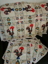 Large Portugal Roosters Tablecloth & 6 Placemats/Napkins Galo De Barcelos