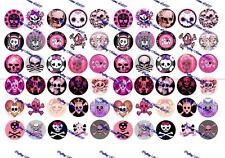"60 Precut 1"" PINK SKULLS Bottle cap Images Set A"