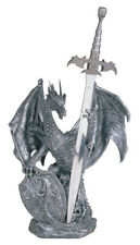 15 Inch Silver Dragon With Shield And Sword Figurine