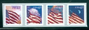 US 4244-47 USA FLAG STRIP OF 4 STAMPS 42c P#V1111 ISSUED 2008 ROUND CORNERS