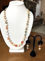 Vintage Southwestern Red Alabone Coin Pearl Tribal Necklace And Earrings Set