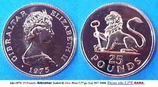 Año 1975. 25 Pounds. GIBRALTAR - GRAN BRETAÑA. Isabel II. Piezas 2375 RARA.