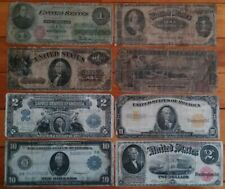 1862-1917 8 Horseblanket Large Size Us Notes Currency Lot $10 Gold $2 $1 Silver+
