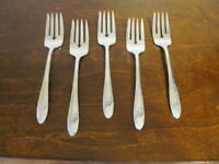 Oneida QUEEN BESS Set of 5 Salad Forks Community Silverplate Flatware Lot D