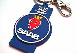 SAAB key chain - unique rubber keyring with lion and plane logo, best gift