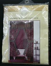Fabric Double Swag Shower Curtain 2 Tie Backs & Hooks And Vinyl Liner Florence
