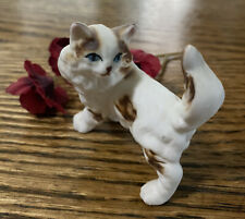 Vintage Small Porcelain Brown & White Cat Figurine 1.5�