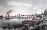 DÜSSELDORF GA-HANDKOLORORIERTER STAHLSTICH UM 1850. L.Rohbock/J.M. Kolb,