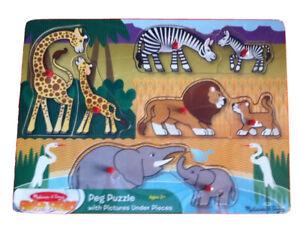 SAFARI Animal's Mums & Babys ~ PEG TRAY Kids Jigsaw Puzzle Melissa & and Doug BN
