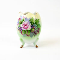 Lefton China: 3inch Hand Painted Floral 3 Toed Cracked Egg Vase