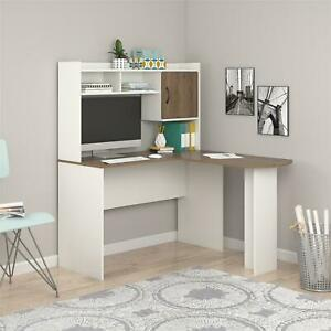 Mainstays L-Shaped Desk with Hutch, White