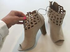 New CHARMING CHARLIES NUDE BEIGE SUEDE OPEN TOE CUTOUT ANKLE BOOTIE SZ 8