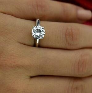 SOLITAIRE DIAMOND ENGAGEMENT RING 1 1/2 CARAT D SI1 ROUND EX 14K WHITE GOLD NEW