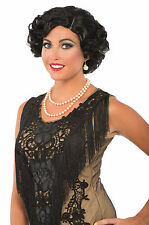 Adult Roaring 20s Short Black Curly Flapper Fannie Jazz Costume Wig