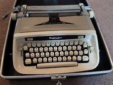 New listing Mid Century Modern Royal Safari Manual Portable Typewriter Case Key Beige Gray