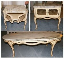 Set of 3 Vintage Marble Top French Provincial Style Furniture Coffee & End Table