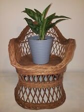 Vintage Retro Woven Wicker Child's Chair Teddy Doll Plant pot stand Display boho