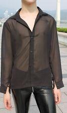 Men Sexy See Through Shirt Chiffon Long Sleeved Casual Loose Fit Black Light