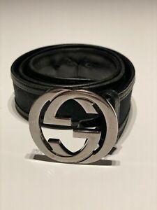 Original GUCCI Ledergürtel GG SIGNATURE schwarz - Größe 90