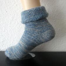 Damen Thermo Wollsocken mit Umschlag Kuschelsocken extrem warm blau 35 bis 42