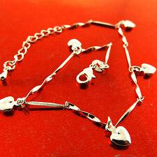 Fsa777 Genuine Real 925 Sterling Silver S/F Ladies Heart Xl Bracelet Anklet