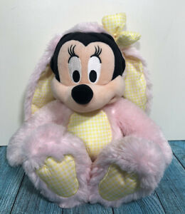 Disney Store Exclusive Minnie Mouse Easter Bunny Pink & Yellow Plush Soft Toy