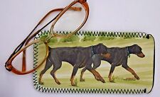 DOBERMANN DOG NEOPRENE GLASS CASE POUCH  SANDRA COEN ARTIST WATERCOLOUR PRINT