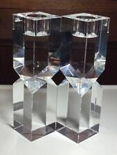 Pair of signed Oleg Cassini crystal candlestick holders