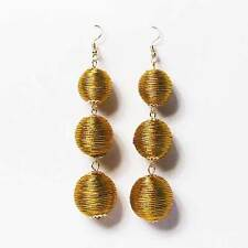 DAZZLING GOLD SILKY SHEEN DISCO BALL DROP STATEMENT EARRINGS