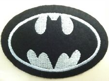 "Batman patch 3.5"" wide heat seal iron-on backing black felt  white logo 2 pieces"