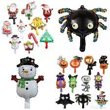 7pc Mini Foil Balloons Halloween Christmas Party Snowman Pumpkin Santa Kids Xmas