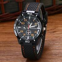 Herren Militär Quarz Uhren Sport Silikon-armband Edelstahlgehäuse Armbanduhr
