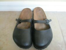Birki's Black Synthetic Slides Unisex Women Size 9 Men 7 Narrow Footbed