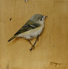 Original animal Oil painting - wildlife - bird art goldcrest by j payne
