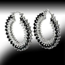 New Vero Vicenza Black & White Hoop Earrings