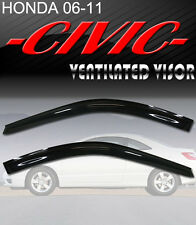 Smoke 06-11 Civic Coupe Window Deflectors Visor Vent Shade Rain/Sun/Wind Guard