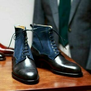 Men Handmade Boots Two Tone Navy Suede Black Leather Formal Wear Casual Shoes