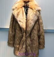 Mens Mid-Long Lapel Jacket Clothing Winter Warm Thicken Coats SI faux Racoon Fur