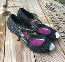 Betsey Johnson Women's Black High-Heeled Glittery Peep Toe Pumps Size 8