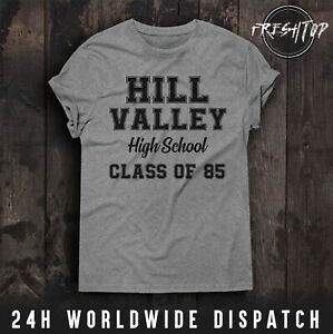 Back To The Future T Shirt Hill Valley High School Marty Mcfly Doc Emmett Brown