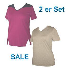 2er Set Damen Shirt Pulli T-Shirt 2 Stück beere / beige 40 Schneider Sportswear