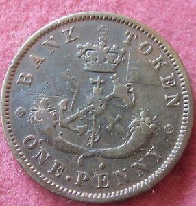 1854 Bank Of Upper Canada  One Penny Token KM# Tn 3