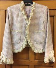 Ideology Jacket Size 0 Ruffle Trim Tweed Blazer Light Purple Wool Short Cute