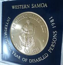 1981 Western Samoa Le Président américain ROOSEVELT un Tala Coin Ensemble Cadeau en vitrine
