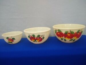 """3 Vintage Fire-King Ivory """"Swirl"""" Mixing Bowls,  Hand Painted Apple Gay Fad"""
