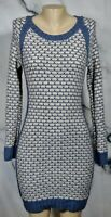 PINK ROSE NEW NWT Shadow Blue Heather Oatmeal Sweater Dress Large Long Sleeves